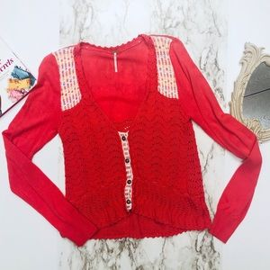 Free People knit coral Sweater size large
